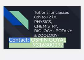 Tutions for classes 9th to +2 Physics, Chemistry & Biology