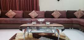 12 seater sofa, corner sette, centre table, table carpet and curtains