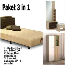 Set Bedroom Paket 3 in 1 ( Bedset 160 + Meja rias + Lemari 2P ) Baru