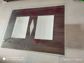 Centre table for living (wood + glass center table)