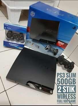 PS3 SLIM 500GB OK Joss isi 100 game puas banget+2 Stik OK