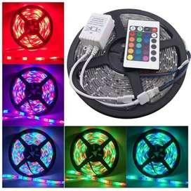Lampu Led Strip RGB Warna Warni ip44 3528 Komplit Set Adaptor Remote