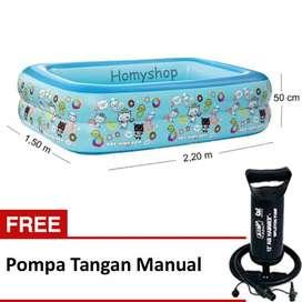 Kolam Renang Anak Merk Mikoko Uk. 2.20mx1.50mx50cm Free Pompa Tangan