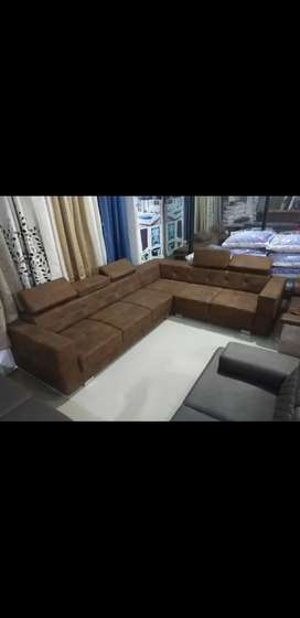 L Shape 6 Seater Tic Toc Pattern Sofa with Leather Finish or L Leg Set