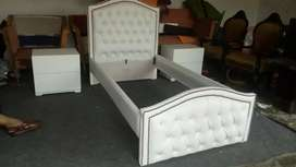 Shinny bed with side tables