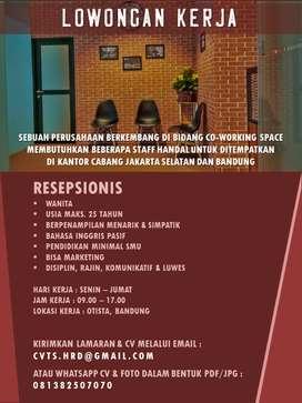 Lowongan Kerja Resepsionis Sabtu Minggu Libur Di Area Otista Bandung