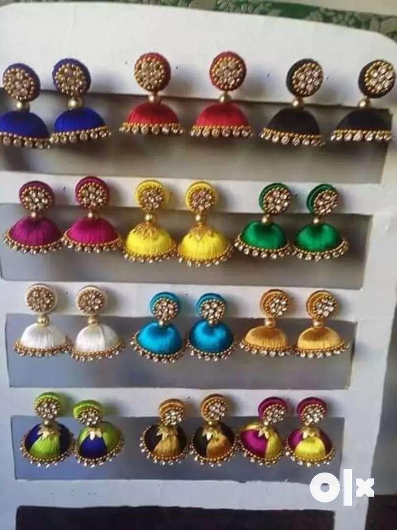 Colorful Silk thread earring 0