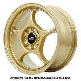 hsr velg racing R15x65 pcd 8x100-1143 gold