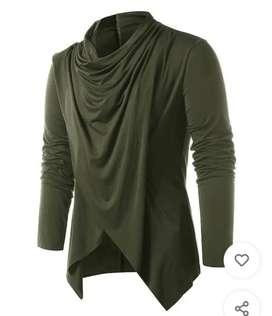 Men olive solid shawl cardigan