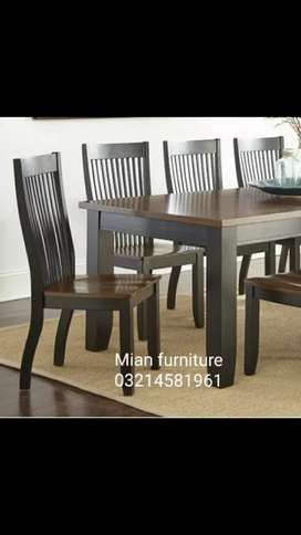 Elegant Solid wooden Table with six wooden chairs