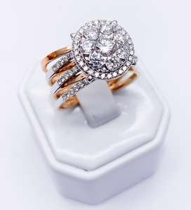 Cincin diamond model fashion  konbinasi rosegold