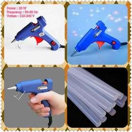 PROMO - Alat Lem Tembak Glue Gun 20W + 10pcs Lem Bakar Cair/Lem Lilin