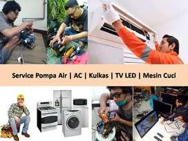 Service Pompa Air AC Kulkas TV Led Tabung Mesin Cuci Panggilan 24 Jam