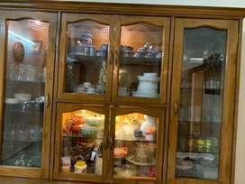 Real teak wood crockery and storage cabinet