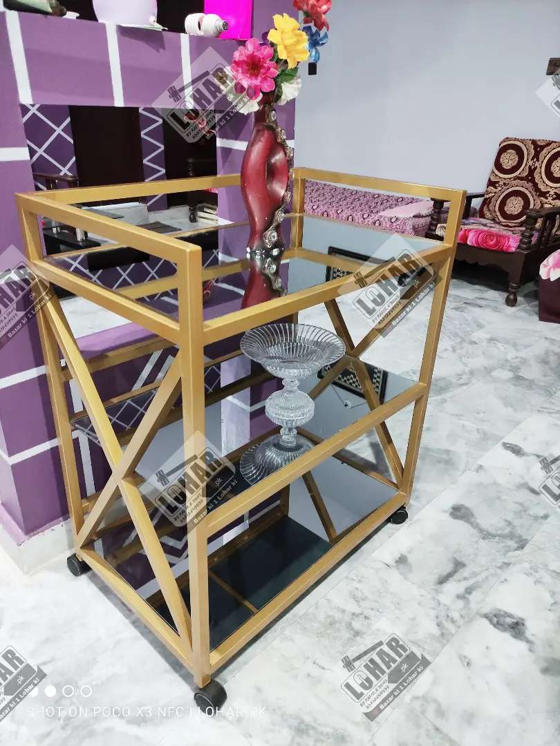 Iron Tea Trolley | Bar Cart | Multi Purpose Shelf (COD all Pakistan) 0