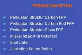 Spesialist carbon FRP Eglass wrapping grouting injeksi jacketing kolom