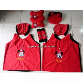 bantal mobil 5 in 1 micky mouse plus cover sarung jok mobil brio agya