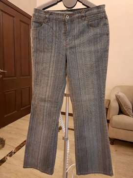 Blue stitched jeans