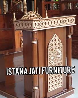 Ready stock mimbar masjid Mimbar besar bahan kayu jati