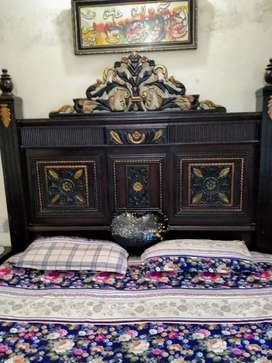 Full size bed with site tables,dressing and showcase without mattress