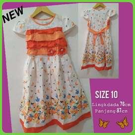 New Baju Anak Perempuan  Oren Bunga Size  10