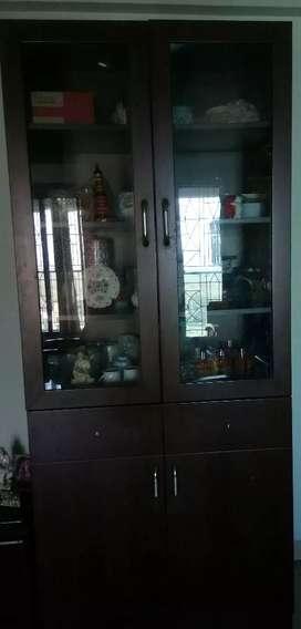 Wooden cabinet  with 2  glass door & 2 wooden door