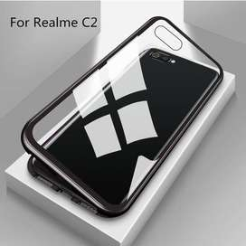 Luxury Magnetic Case Oppo Realme C2 Metal Glass Back Cover Casing 2in1