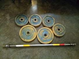 Gym plates yellow and blue colour good working condition.