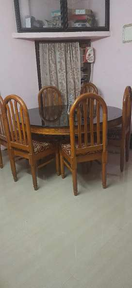 Teak dinner round table with 6 chairs