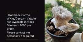 Home Made pure cotton wicks or Vattulu minimum 1000 per order
