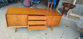 Bufet meja almari tv kayu jati model minimalis retro