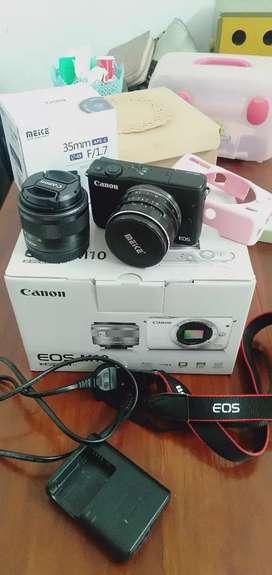 Canon eos m10 bekas (include lensa fix meike)