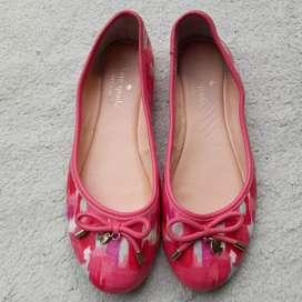 Kate Spade pink kulit asli flat shoes
