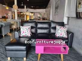 sofa tamu L puff terbaru, free bantal motif