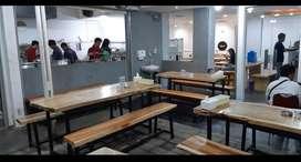 Set meja kayu hutan kaki besi