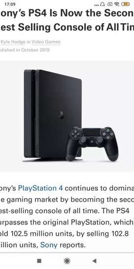 PS4 playstation 4 with a controller and 1 TB space