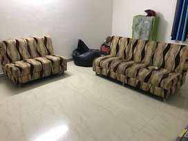 3+2 Seater Upholstered Cushion Sofa (Gently used) + Free Bean Bag