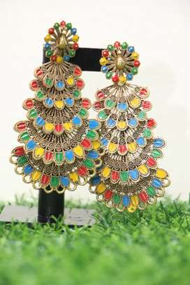 Golden Antique Earring Peacock 5 Layer Drop with Multi Colors JT-261