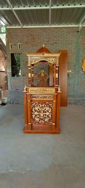 Mimbar masjid ukir dakwah material kayu jati ajf45