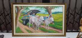 Lukisan panen grobak sapi