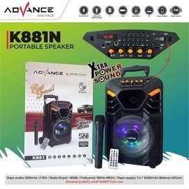 Speaker Portable Bluetooth Karaoke Advance K881 8 Inch + Mic Wireless