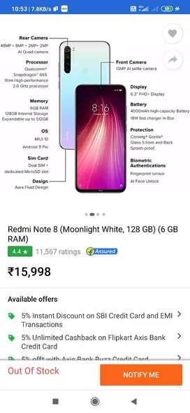 Redmi note 8  6 gb ram 128 gb internal