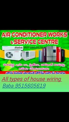 All types of house wiring and A/c, washing machine,,fredez, repairing