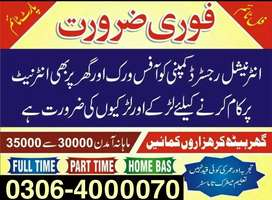 Full time/ Part time/ Home Based,,Online Jobs for males,females