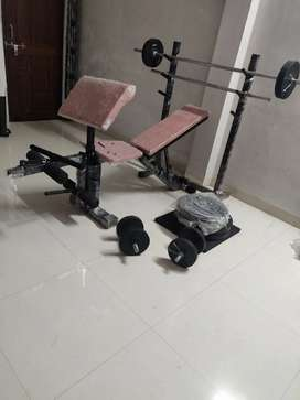 Multi purpose bench with 100kg rubber weight