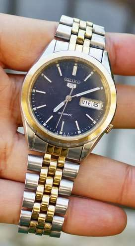 jam tangan vintage Seiko 5 datejust blue dial