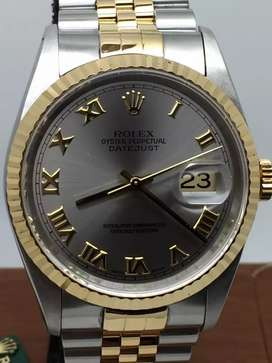 Rolex Men 18KSS Datejust Grey Roman dial
