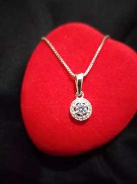 Perak 925 silver 925 kalung dan liontin lapis emas putih solitaireplus