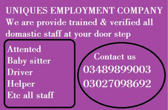 HOUSEMAIDS, BABYSITTERS, NANNIES, COOKS, HELPERS, COUPLES ETC ALL STAF 0