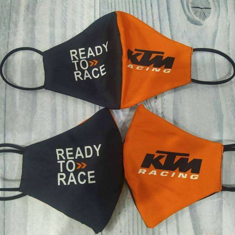 Masker KTM racing orange hitam 2ply ready to race printing custom 0